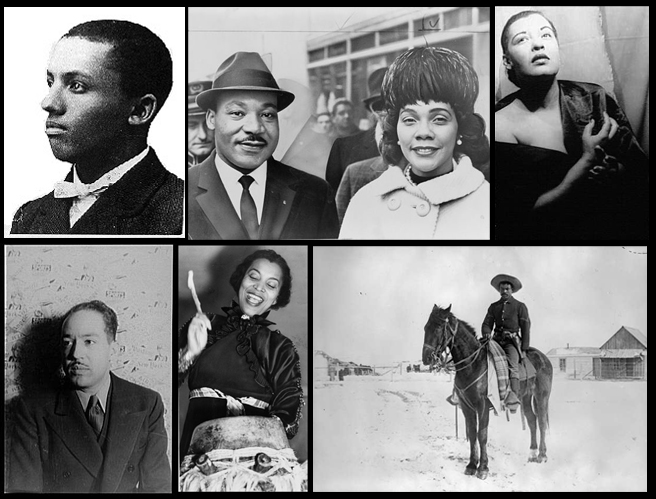 Dr. Carter G. Woodson, Martin Luther King Jr, & Coretta Scott King, Billie Holiday photographed by Carl Van Vechten, Buffalo Soldier 9th Calvary Denver, Zora Neale Hurston, & Langston Hughes photographed by Carl Van Vechten