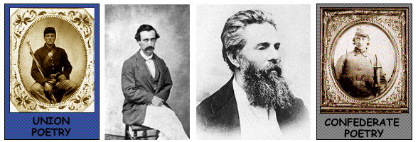 Images left to right: Union Poetry, Henry Timrod, Herman Melville, and Confederate Poetry