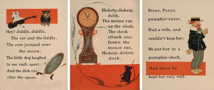 "Illustrations are by William Wallace Denslow from the book, ""Denslow's Mother Goose"" (1902). Illustrations are left to right: Hey Diddle Diddle, Hickety Dickety Dock, and Peter Peter Pumpkin Eater."